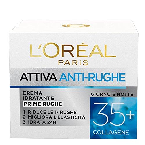 L'Oréal Paris Crema Viso Anti-rughe Attiva 35+, Crema Idratante Prime Rughe, Migliora l'Elasticità e Idrata la Pelle, 50 ml, Confezione da 1