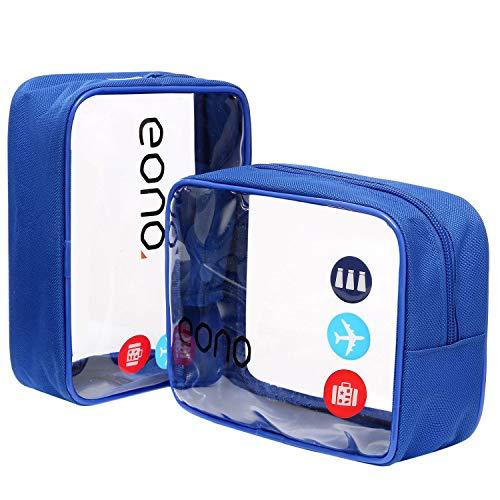 Amazon Brand - Eono Beauty Case da Viaggio Clear Borsa da Viaggio Impermeabile Cosmetici Trousse Trasparente Toiletry Bag Kit da Aereo per Liquidi Sacchetti di Trucco per Uomini e Donne - Blu, 2-Pcs