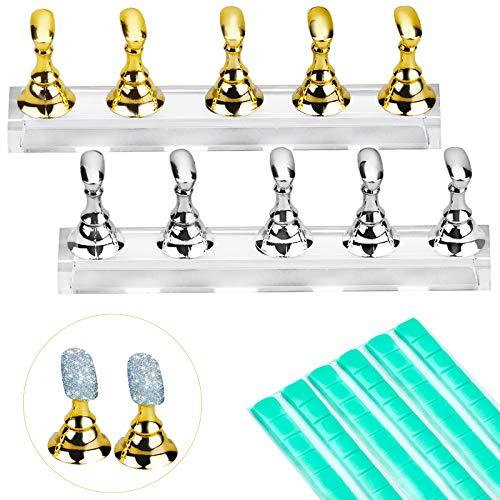 Inntek Acrilico Supporto Pratico per Nail Art Magnetico Supporto Pratico per Nail Art Magnetico Strumento Display Supporto di Cristallo per Unghie Fai-Da-Te e 96 Pezzi Stucco Adesivo (Oro e Argento)