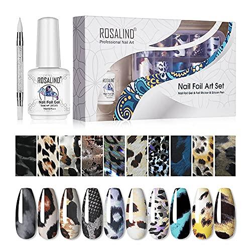 ROSALIND 10 Colori Nail Foil Transfer Stickers Leopard Nail Art Foil Transfer Stickers Trasferimento Adesivo Holographic Nail Stickers Decorazione Fai da Te Attrezzatura Arte Unghie