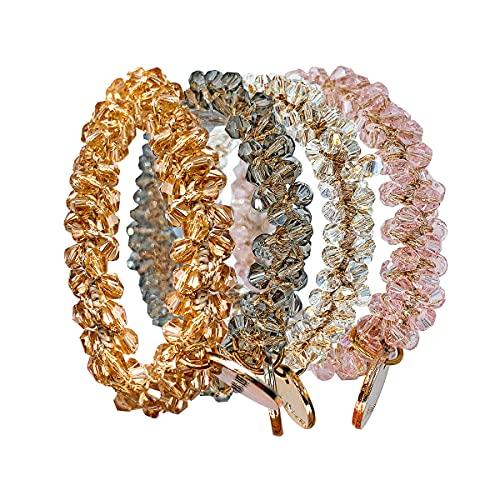 DOKRVLOQ Scrunchies di cristallo, elastici per donna, accessori per capelli per ragazze, coda di cavallo treccia coda di cavallo da donna 4 pezzi