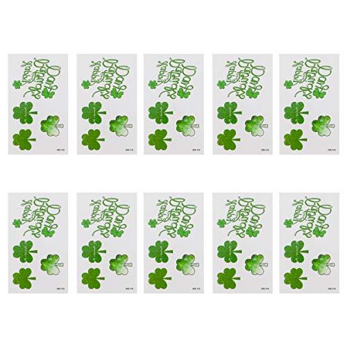 VALICLUD 10 Fogli di St Patricks Day Tatuaggi Simpatici Quadrifogli Tatuaggi Temporanei Trifoglio Impermeabile Adesivo Falso Decalcomania per Bomboniere Irlandesi Goodie Bag Fillers Decor
