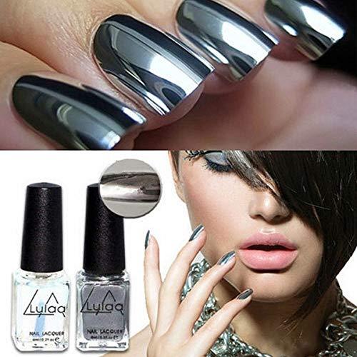 Smalto gel per unghie, colore argento, effetto specchio, cromato + base coat, 2 pezzi in totale