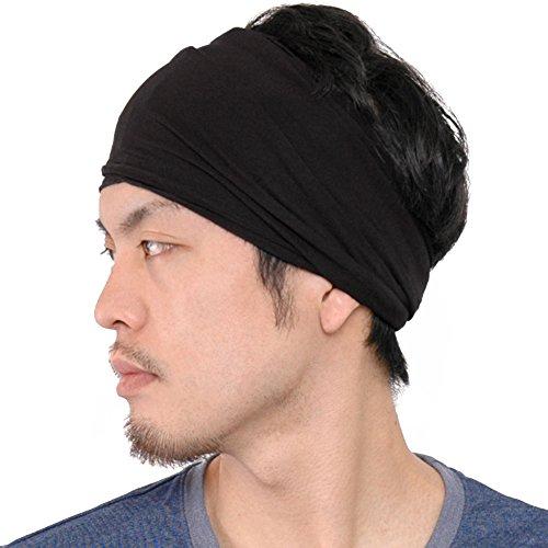 Casualbox Uomo elastico bandana Fascia Per Capelli giapponese lungo capelli dreads testa incarto nero