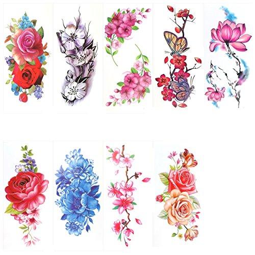 Rosenice - Tatuaggi temporanei con 9 bei fiori, tatuaggi per il corpo con rosa, peonia, fiore, farfalla, fiore di loto, fiore di ciliegio, adesivo per il corpo per donne