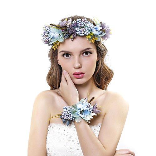 Ever Fairy® fascia per capelli con corona di fiori e fascia per il polso con ghirlanda floreale, set per matrimonio per donne e bambine Blue Taglia unica