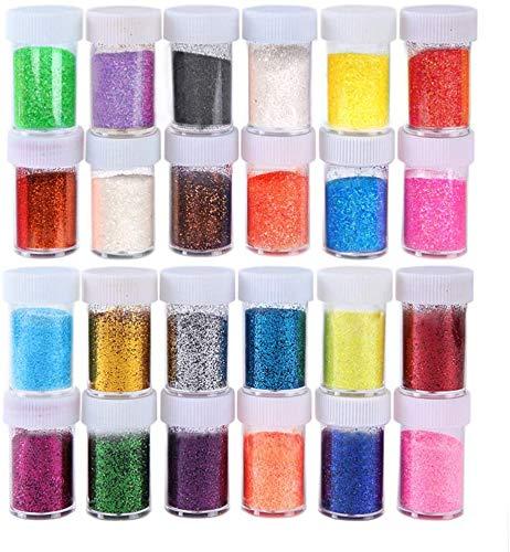 Biutee Set di 24 vasetti di glitter fai da te per decorare glitter perfetti per viso, unghie e occhi per Natale