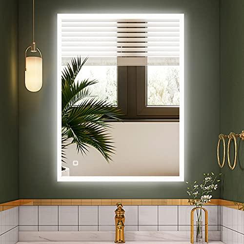 S'bagno - Specchio da bagno con LED illuminato, 600 x 800 mm, con altoparlante Bluetooth integrato, funzione di oscuramento, cambio colore della luce, cuscinetto antideflagrante e sensore touch