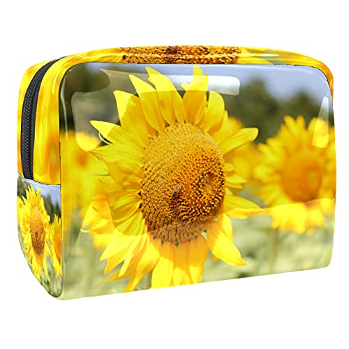 Makeup Bag for Purse PVC Travel Cosmetic Pouch Yellow Sunflower Toiletry Bag for Women Girls Gifts Portable Water-Resistant Daily Storage Organizer 7.3x3x5.1 Inch