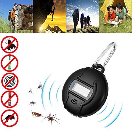 Repellente Ultrasuoni, Portatile Anti Zanzare Efficace Professionale Repellente Zanzare Carica USB e Solar Power 2 in 1 Repellente Insetti All'aperto/interno Contro Zanzare con Bussola e Moschettone