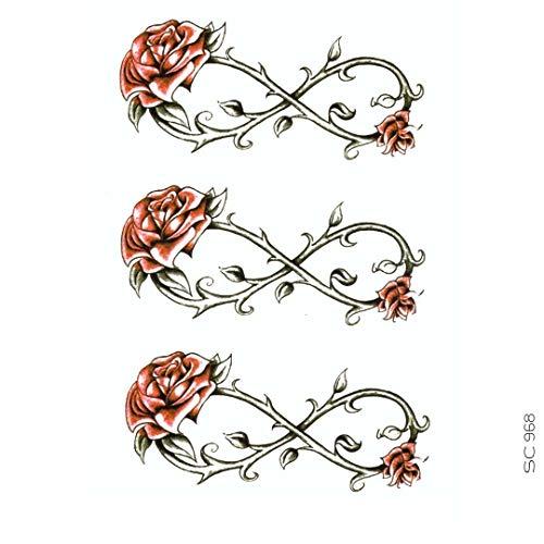 AVASTORE - Tatuaggio temporaneo da donna, motivo: infinito, fiore rosa, rosso