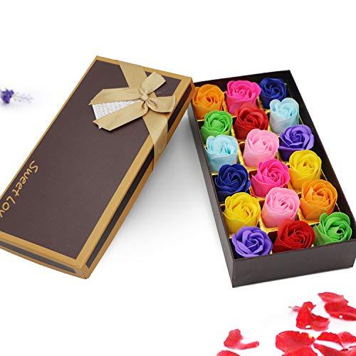 SehrGo Preservato sapone,rosa set profumato sapone da bagno petali di fiori rosa in confezione regalo .per le ragazze adolescenti o mamma compleanni(18PCS)