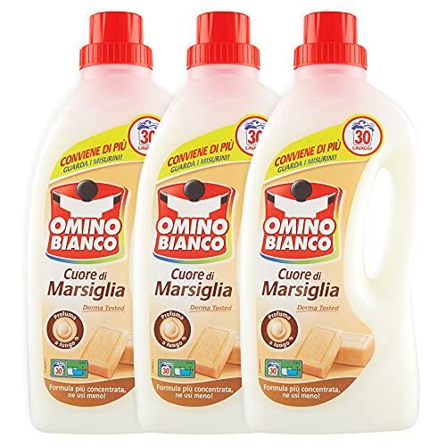 Omino Bianco - Detersivo Lavatrice Liquido, Fresco Profumo con Essenza Cuore di Marsiglia, 90 Lavaggi, 1500 ml x 3 Confezioni