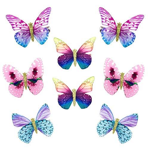 mciskin Fermagli per capelli a forma di farfalla, in chiffon,Fermagli per capelli,per donna ragazza e bambino(8 pezzi)