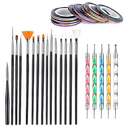 50 pezzi set di strumenti per la progettazione di nail art, Sonku 15 pezzi pennelli per pittura 5 pezzi penne per punte per unghie con 30 pezzi nastro adesivo a strisce linea decorazione adesivo