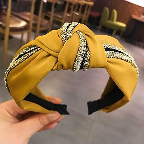 Simply - Turbante caldo da donna, in cotone, annodato, fascia per la testa annodata e intrecciata (oro / 1 pezzo) giallo Yellow Misura libera