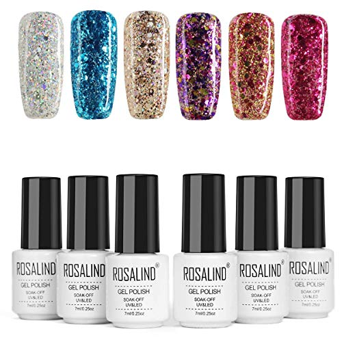ROSALIND Smalto Semipermanente Glitter Semipermanente Unghie 6 Colori Set Soak Off Varnish UV Gel Brillantini kit di design per salone 7ml