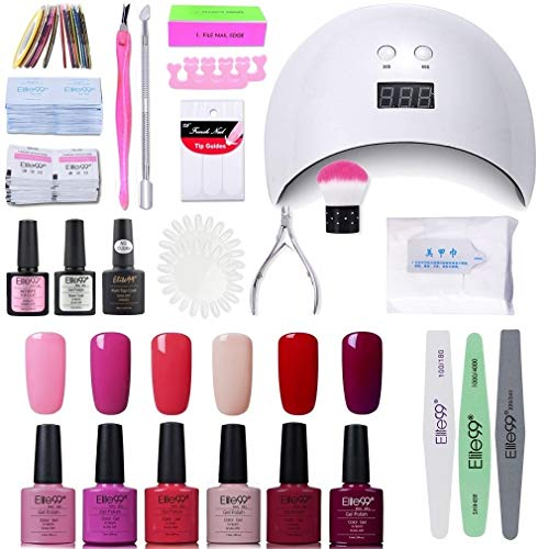 Elite99 Smalto Semipermanente per unghie Kit di Partenza in 6 coloris Gel 24 W LED Lampada UV Nail Dryer Soak Off Topcoat Basecoat Nail Art Tool Set di Adesivi per Manicure Set per Manicure 10ML C002