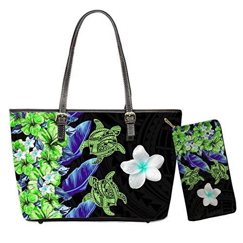 MODEGA 2 PZ Set Ragazze In Pelle Tote Borse Donna Clutch Bag Portafogli, Tatuaggio floreale, M,