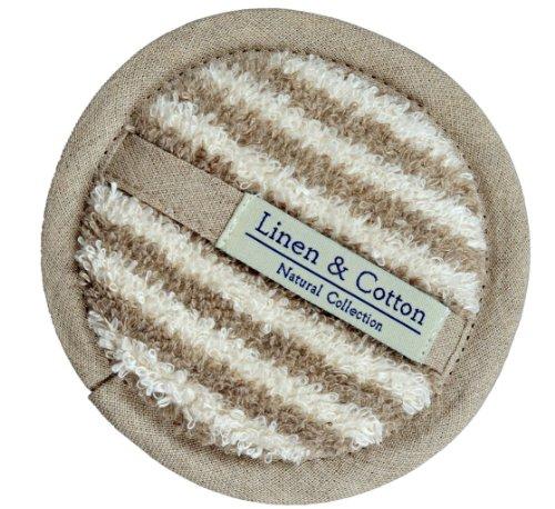 Linen & Cotton, Spugna Naturale Da Bagno, Doccia Naturale ARIA - 60% Lino, 40% Cotone (15cm, A Righe)
