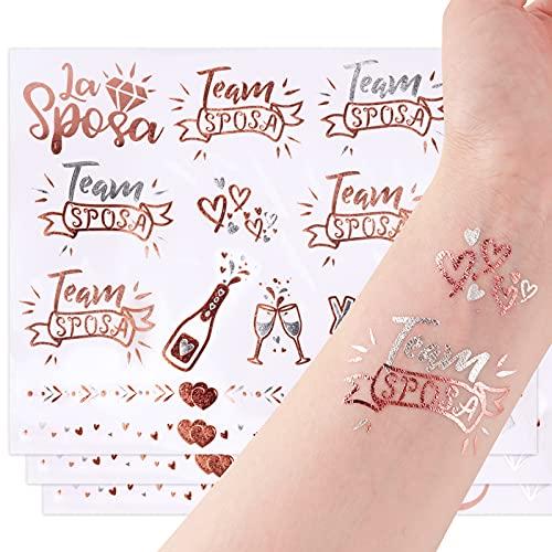 FLOFIA 54pz Tatuaggi Temporanei Sposa Addio al Nubilato Gadget Sposa Amica Team Sposa Bride Tatuaggi Sposa Amiche per Decorazioni Matrimonio Feste Addio al Nubilato Doccia Nuziale 3 Fogli Oro Rosa