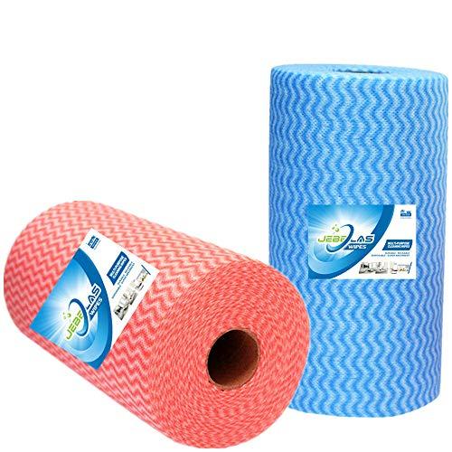 JEBBLAS Usa e getta J Panni Confezione di 100 Blu 100 Rosso Rotolo multiuso tessuto Non tessuto antiaderente asciugandosi stracci casa pulizia panno cucina piatto canovaccio
