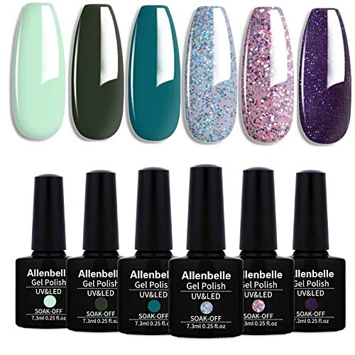 Allenbelle Smalto Semipermanente Nail Polish UV LED Gel Unghie (Kit di 6 pcs 7.3ML/pc) 009