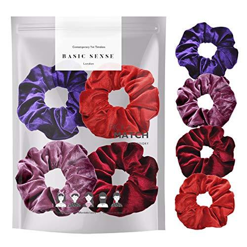 Set di 4 elastici per capelli di alta qualità, in velluto, per coda di cavallo, per donne e ragazze, confezione combinata, colore viola