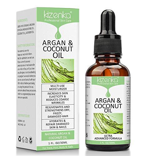 kizenka Olio di Argan, Olio di cocco per il corpo, Migliora l'idratazione della pelle e aumenta l'elasticità della pelle, Riduce le Rughe, Stimola la crescita dei capelli secchi - 30ml