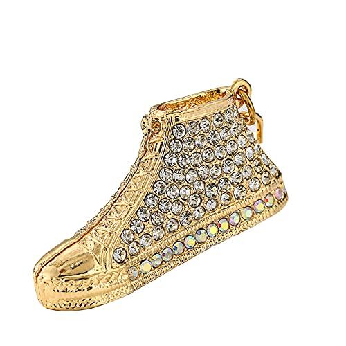 ZMMZ - Portachiavi a forma di scarpa con strass, multicolore, smaltato, regalo per le donne, per il telefono e le chiavi (nero), 2 pezzi, colore: bianco