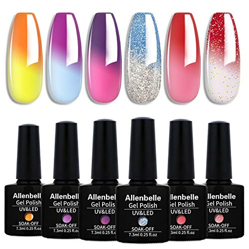 Allenbelle Smalto Semipermanente Camaleonte Nail Polish UV LED Gel Unghie (Kit di 6 pcs 7.3ML/pc) T6003