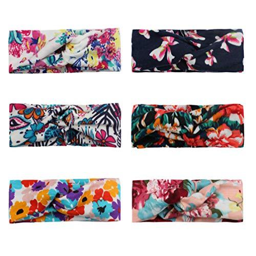 Fiocco di fiori annodato a fascia Boho Fascia per capelli floreale Yoga Sport Moda Carino Fascia