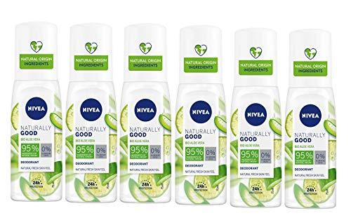 NIVEA Naturally Good Green Tea Pump in confezione da 6 x 75 ml, Deodorante spray con estratto di Green Tea Bio, Deodorante rinfrescante, Deo spray vegan senza alluminio