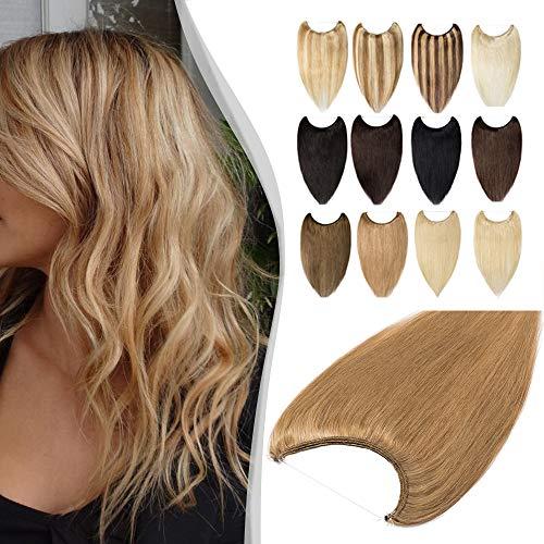 Elailite Extension con Filo Invisibile Capelli Veri 100% Remy Human Hair Fascia Unica senza Clip Standard Weft 40cm #27 Biondo Scuro 60g