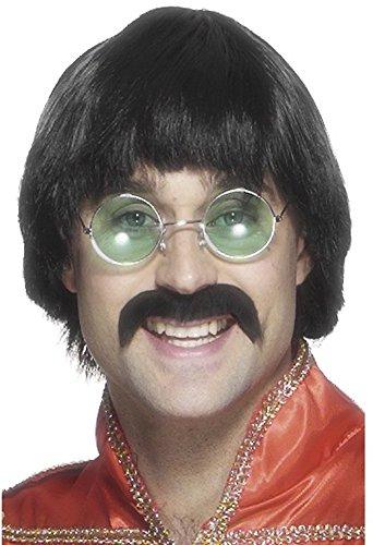 Smiffy's-Smiffys Baffi e parrucca da John Lennon anni '70, nero, stile corto Cor Uomo, Taglia unica, 42249