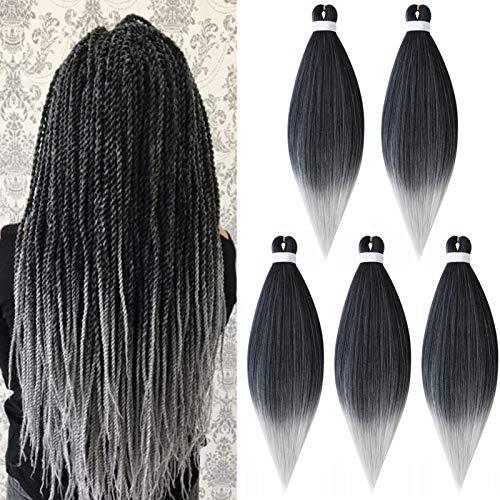 Treccine Capelli Extension Pre Stretched Braiding Hair Pre Allungato Stirato Yaki Professionale Africane Capelli Sintetici Lunghi Sintetici Afro Ombre Crochet 5 Ciocche 65cm Nero&Grigio
