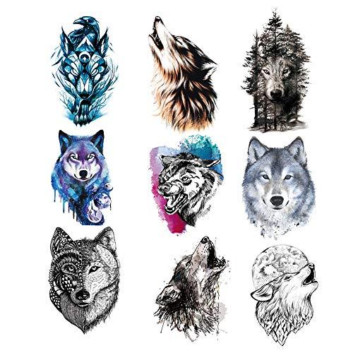 9 Pezzi Tatuaggio Temporaneo Lupo per Donna Uomo,Adesivo Tatuaggio Temporaneo lupo per Donna Uomo Moda Body art Adulti Impermeabile Mano Falso Tatuaggio (21 * 15 cm)