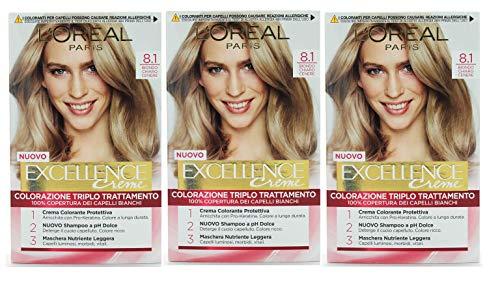 Set 3 EXCELLENCE 8.1 Biondo Chia.Cene Tinta E Colore Per Capelli
