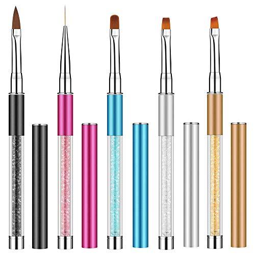 5 pezzi Pennelli Unghie Gel per Nail Art, Acrilico UV per Nail Art Pennello, EBANKU Pennelli gel Professionali Design fai da te e per uso Domestico