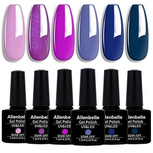 Allenbelle Smalto Semipermante Per Unghie Kit In Gel Uv Led Smalti Semipermanenti Per Unghie Nail Polish UV LED Gel Unghie(Kit di 6 pcs 7.3ML/pc) (005)