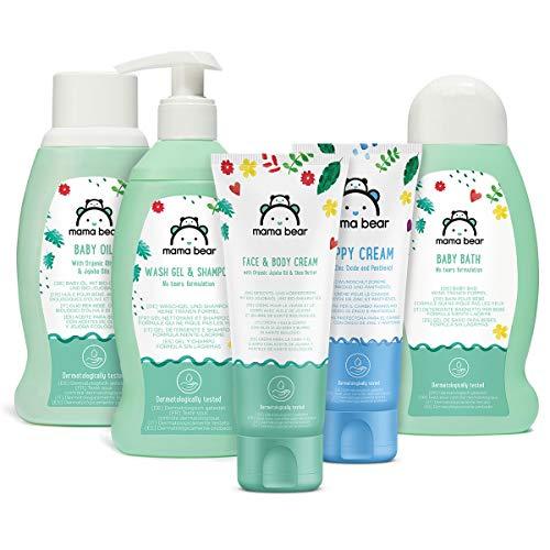 Marchio Amazon- Mama Bear Set per la cura del bebè: Bagnetto, shampoo, crema per il cambio pannolino, olio, crema per viso e corpo