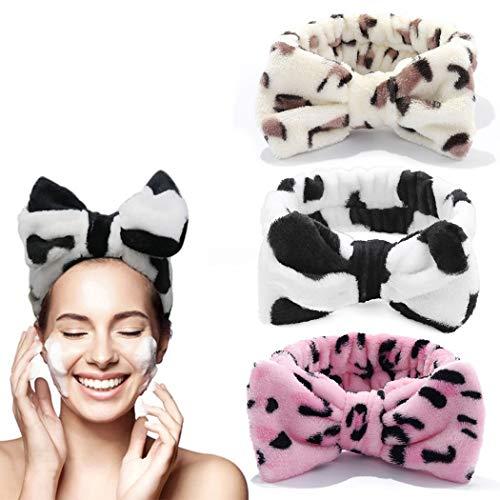 Yean - Fascia per capelli con fiocco, morbida, fascia elastica per capelli, colore: rosa leopardo per make up, doccia, spa, massaggio, yoga, sport, confezione da 3