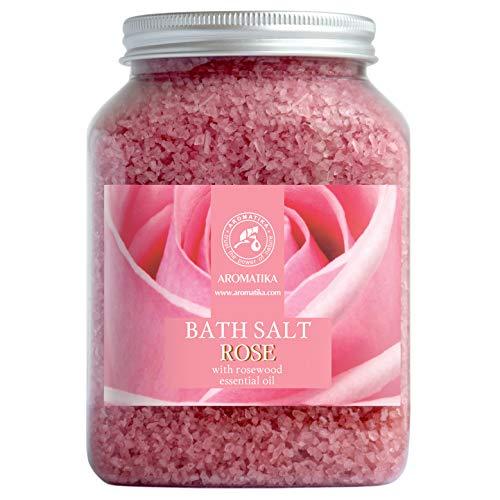 Sale da Bagno Rosa 1300g - Sale Marino con Olio Essenziale di Rose - per un Buon Sonno - Riduzione dello Stress - Cura del Corpo - Relax - Aromaterapia - Bellezza - Sali da Bagno di Aromatika