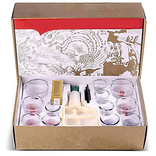 12 Pezzi Set per coppettazione, cromatura biomagnetica tradizionale cinese terapia Vacuum, cura dimagrante naturale a domicilio con pompa vuoto Testina Magnetica