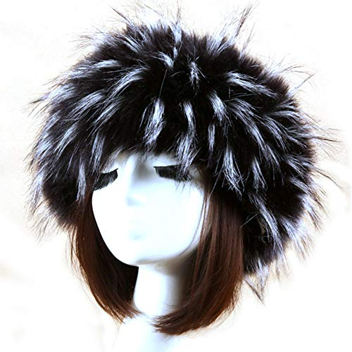 Fascia per capelli da donna in finta pelliccia, invernale, calda, regolabile, accessorio per capelli, per equitazione, passeggiate, sci (bianco e nero)