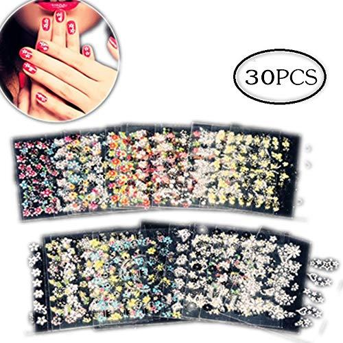 30 fogli Adesivi per unghie 3d adesivi misti di design unghie artistiche punte per manicure smalto adesivi decalcomanie decorazione fai da te