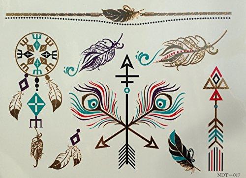 Piuma Cacciatore di sogni olorato Tartaruga Tatuaggi metallici Tatuaggi in flashTemporanei N17 Adesivi per corpo