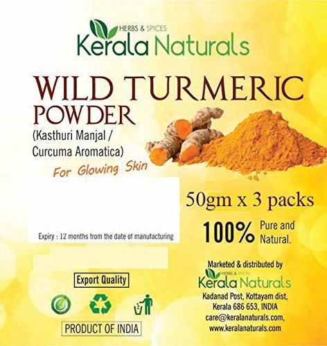 Kerala Naturals - Polvere di curcuma selvatica, 150 g (50 g x 3 confezioni)