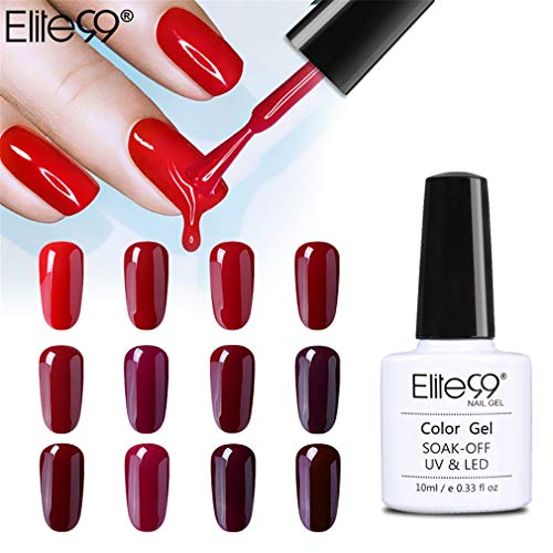 Elite99 Smalto Semipermente per Unghie in Gel UV LED, 12pz Kit Smalti per Unghie Vino Rosso Bordeaux
