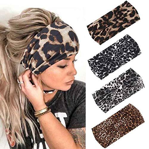 Simsly - Fascia elastica per capelli con motivo leopardo, a turbante, annodata per donne e ragazze (4 pezzi)
